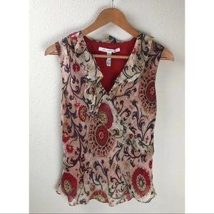 Diane von Furstenbeg Jabot Red Print Silk Blouse-4